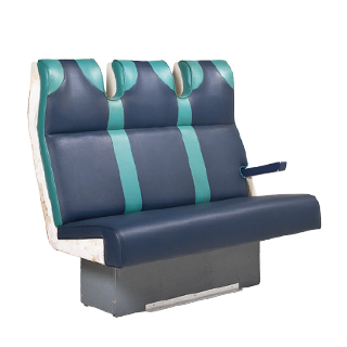 "52""w x 32""d Blue Vinyl Train Tandem Seating BEN013479"