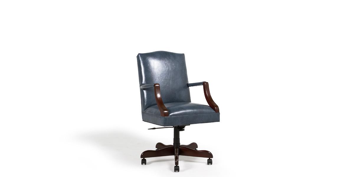Blue Vinyl Mid-Back Office Chair CHR013453