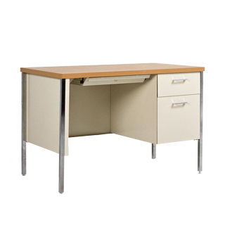 "45.25""w x 24""d Putty Metal Desk DSK013381"