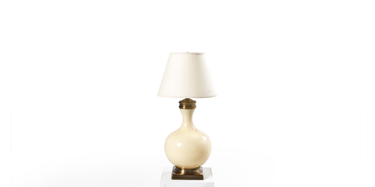 "30""h Ivory Glass Table Lamp LGT010906"
