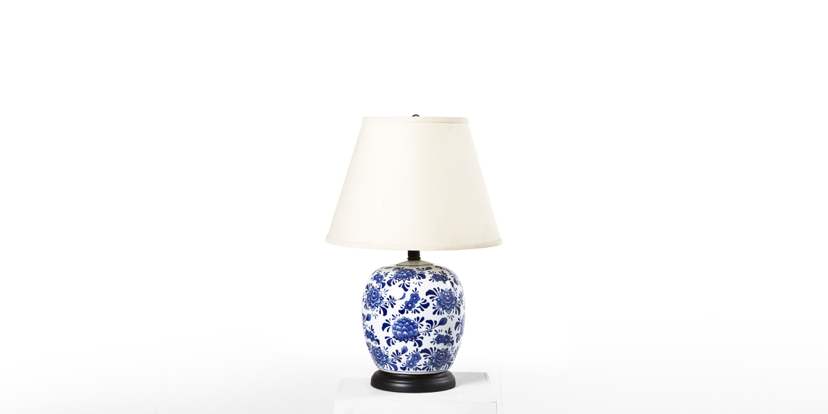 "21""h Blue Floral Ceramic Table Lamp LGT012379"