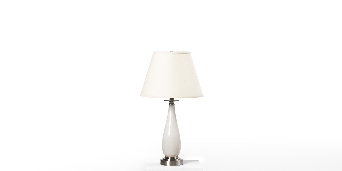 "24""h Ivory Glass Table Lamp LGT012391"
