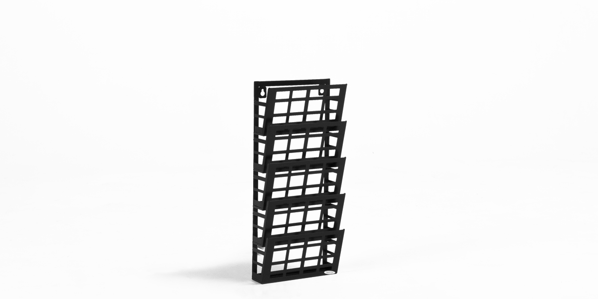 "9.5""w x 21.5""h Black Steel Magazine Rack MIS013457"