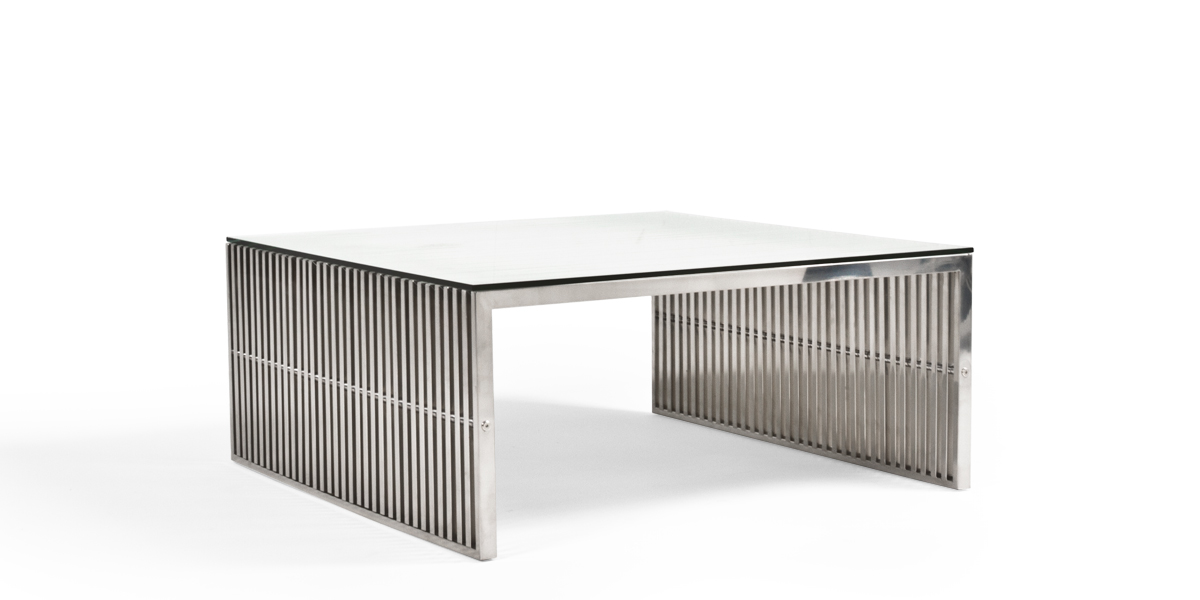 "46.5""w x 39.25""d Stainless Steel Coffee Table TBL013490"