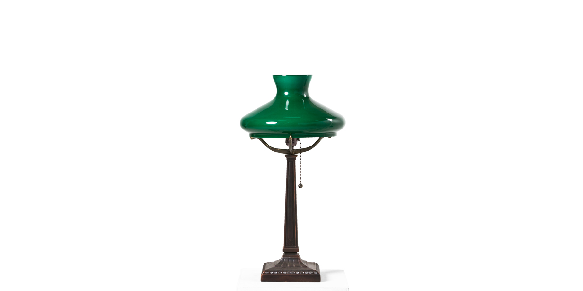 "23""h Green Glass Post Table Lamp LGT009600"