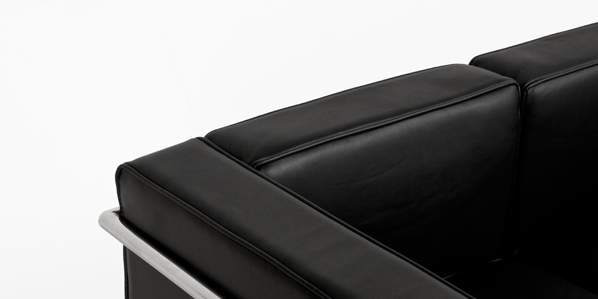 "72""w x 27""d Black Leather Corbusier Style Sofa SOF013379"