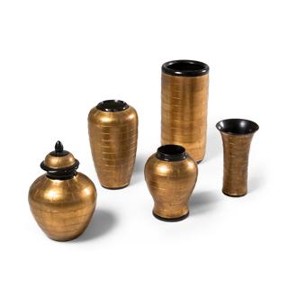"""11""""h - 18""""h Gold + Black Vase Set"""