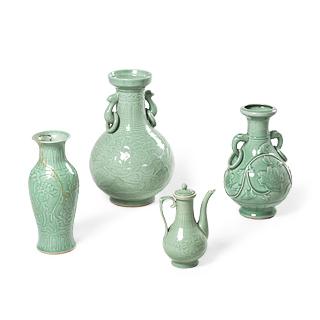 Green Oriental Vase Set