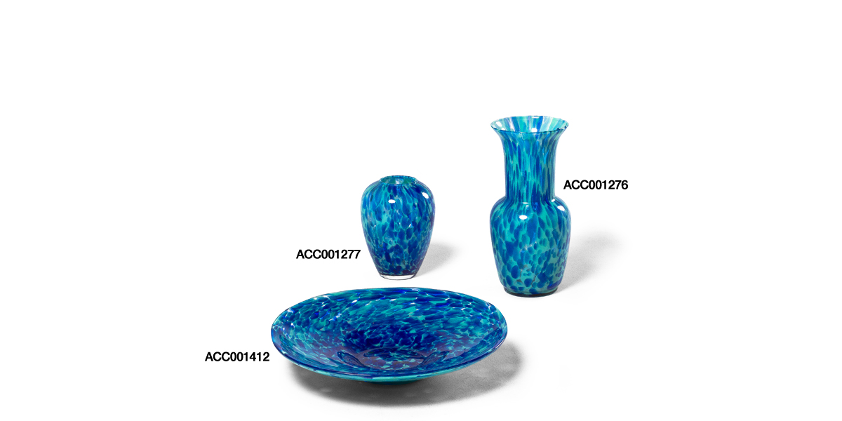 Blue Stained Glass Vase Set