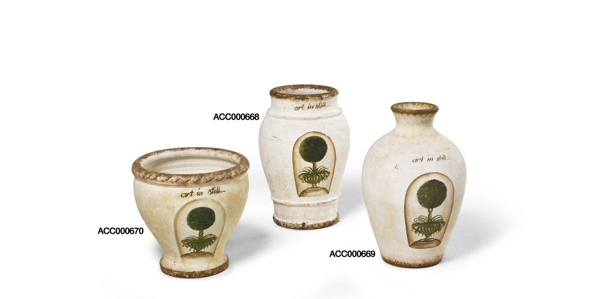 """12""""h - 17""""h Ceramic Stone Vase Set"""