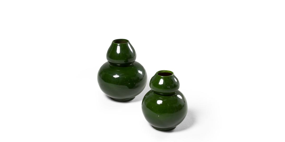 "9.75""h - 12""h Green Gloss Vase Set"