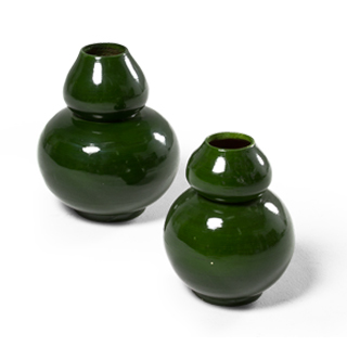 "9.75""h - 12""h Green Gloss Vase Set"