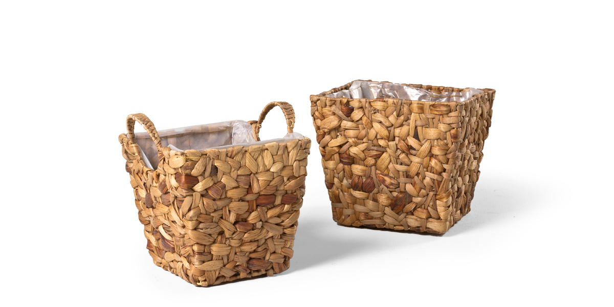 "8""h - 9""h Wicker Planter Set"