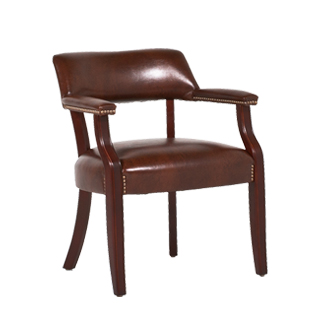 Walnut Brown Leather Captain's Guest Chair CHR013482
