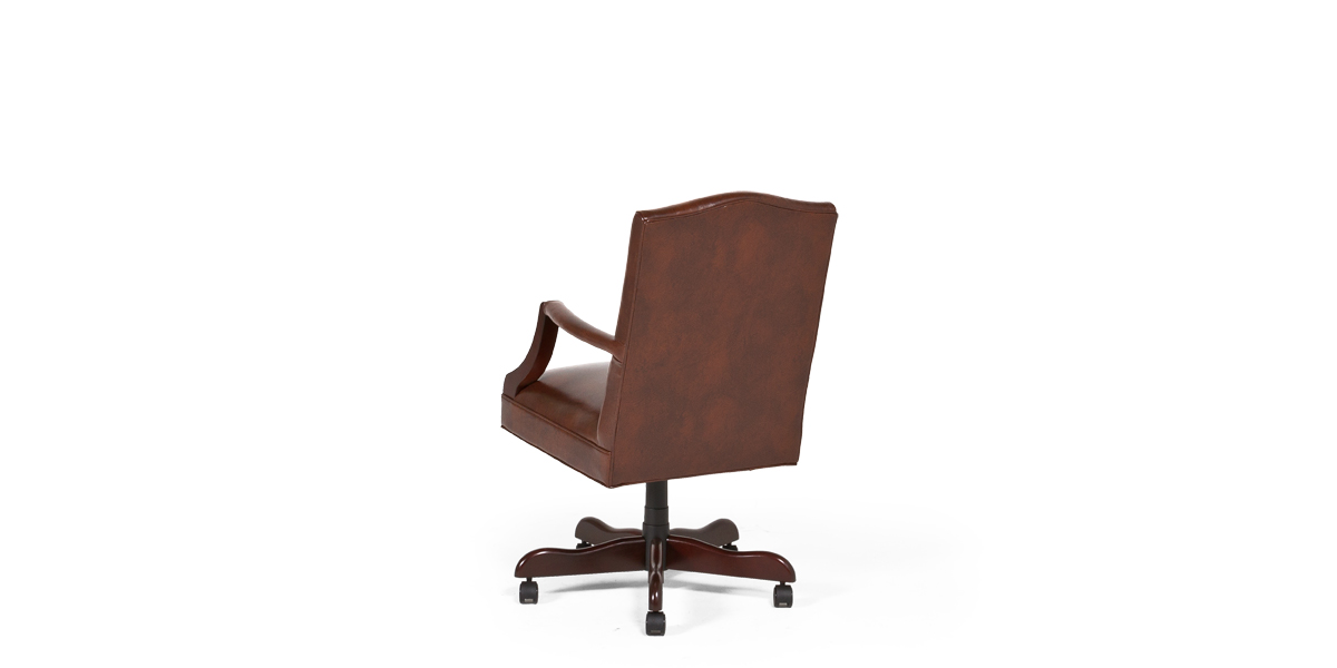 Walnut Brown Leather Mid-Back Office Chair CHR013484