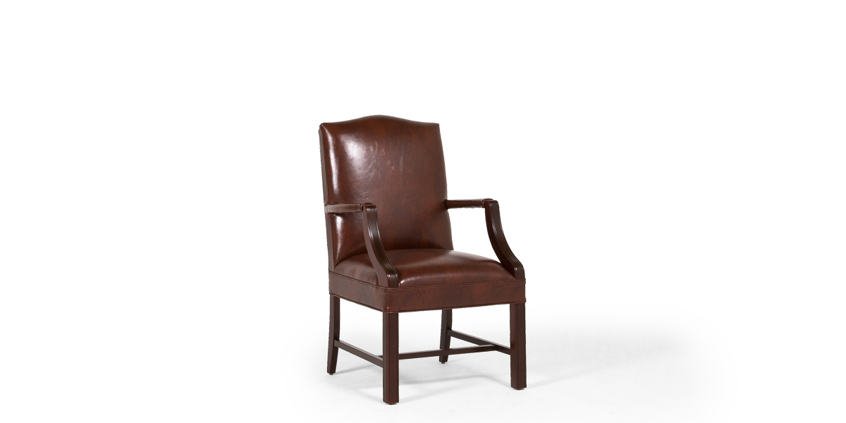 Walnut Brown Leather Martha Washington Arm Chair CHR013485