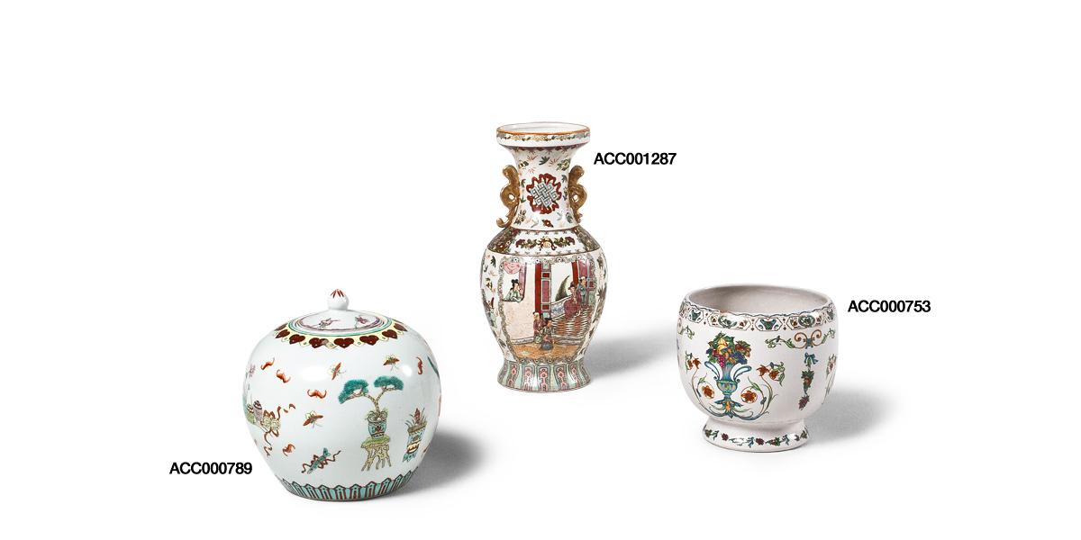 Floral Ceramic Decorative Containers Set