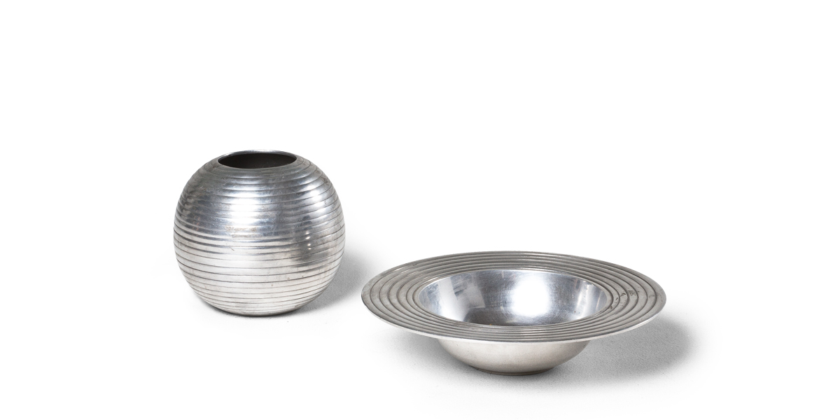 Ribbed Silver Bowl Set