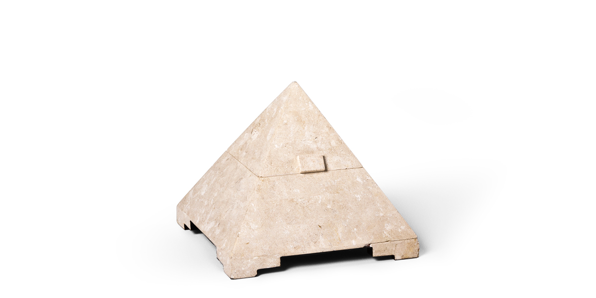 "12""h White Marble Pyramid Box ACC001444"
