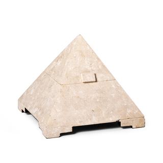 """12""""h White Marble Pyramid Box ACC001444"""