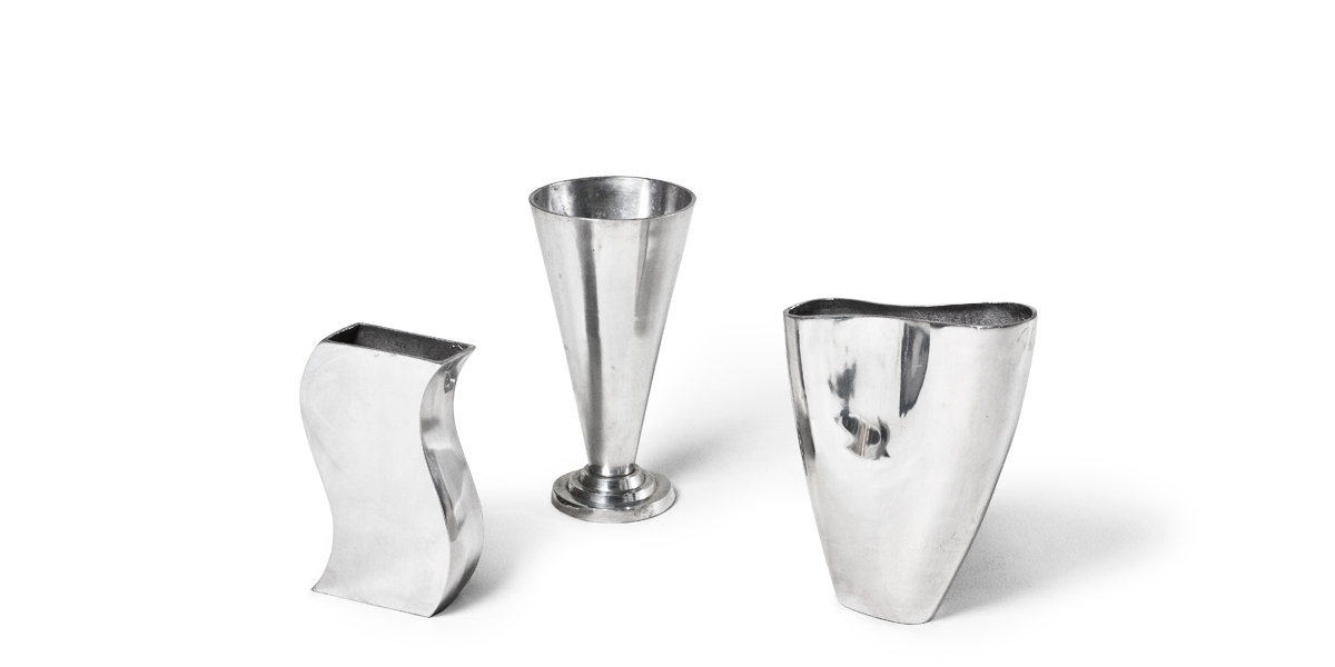 """9.5""""h - 12""""h Silver Vase Set"""