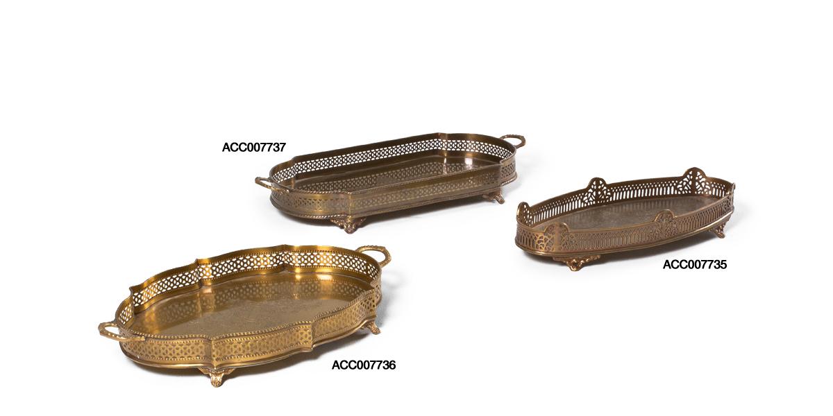 Ornate Brass Serving Tray Set