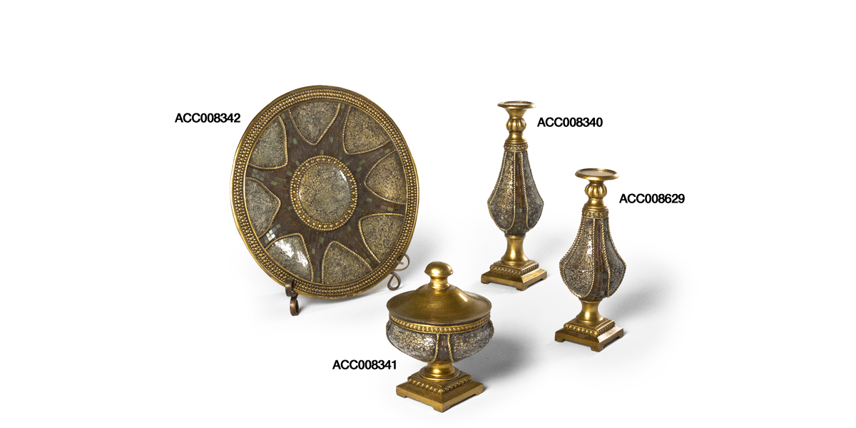 Brass Mosaic Decorative Container Set