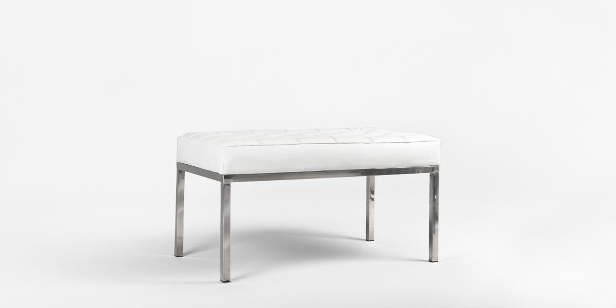 "33""w x 19.5""d White Leather Bench BEN013500"