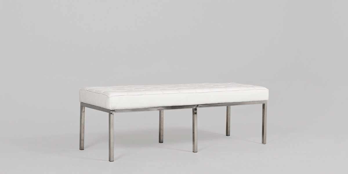 "54.5""w x 19.5""d White Leather Bench BEN013501"