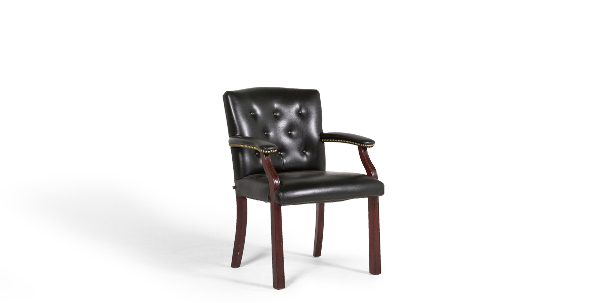 Black Vinyl Traditional Guest Chair CHR013385