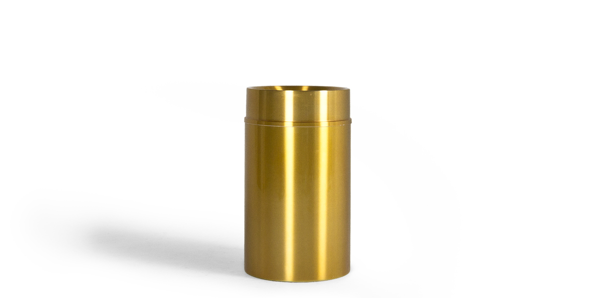 "35""h Brushed Brass Waste Receptacle MIS013363"