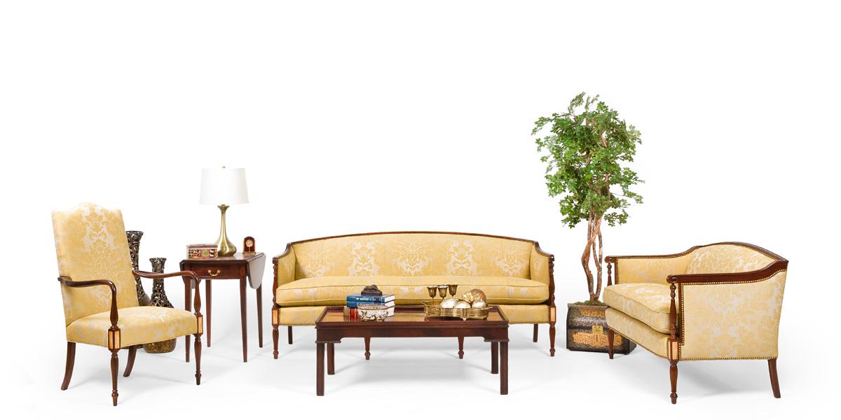 "78""w x 30""d Sheraton Gold Damask Sofa SOF013412"