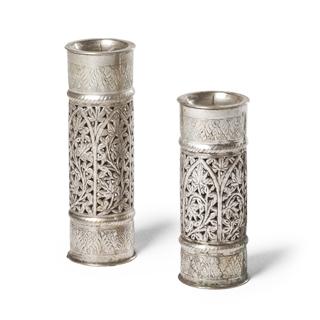 "10""h - 12""h Silver Candleholder Set"