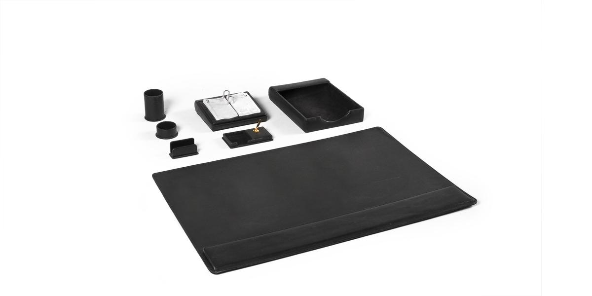 Black Leather Desk Accessories Set