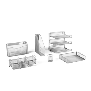 Grey Wire Mesh Desk Accessories Set