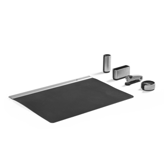 Silver + Black Desk Accessories Set