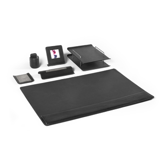 Black Leather Desk Accessories Set