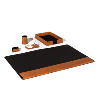 Brown Leather Desk Accessories Set