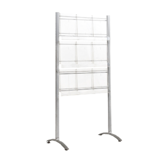 "32""w x 63""h Metallic Grey Magazine Rack MIS011974"
