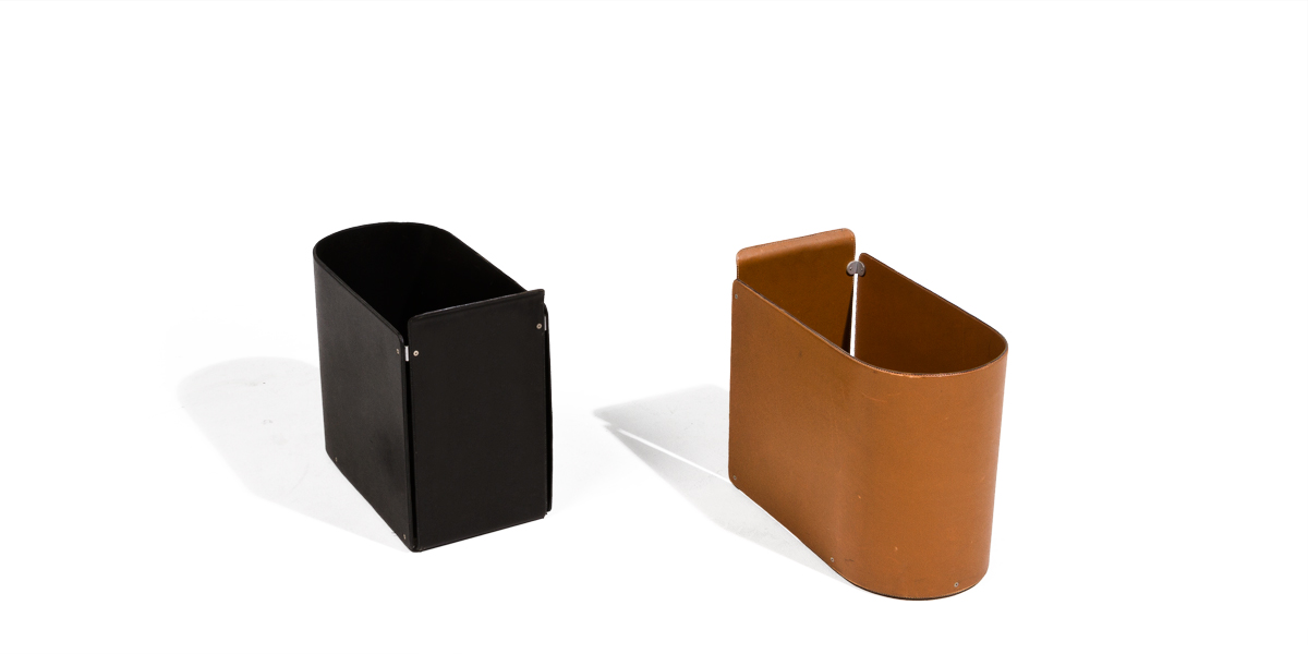 "8.25""w x 13.5""h Leather Waste Basket Set"