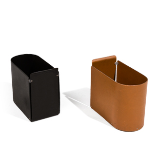 "8.25""w x 13.5""h Leather Waste Basket Set"