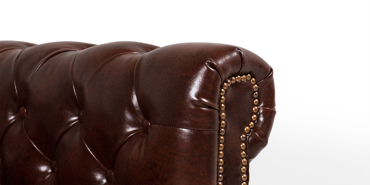 "78""w x 36""d Walnut Brown Leather Chesterfield Sofa SOF013522"