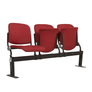 "64""w x 20.5""d Red Fabric Tandem Theater Seating BEN002622"