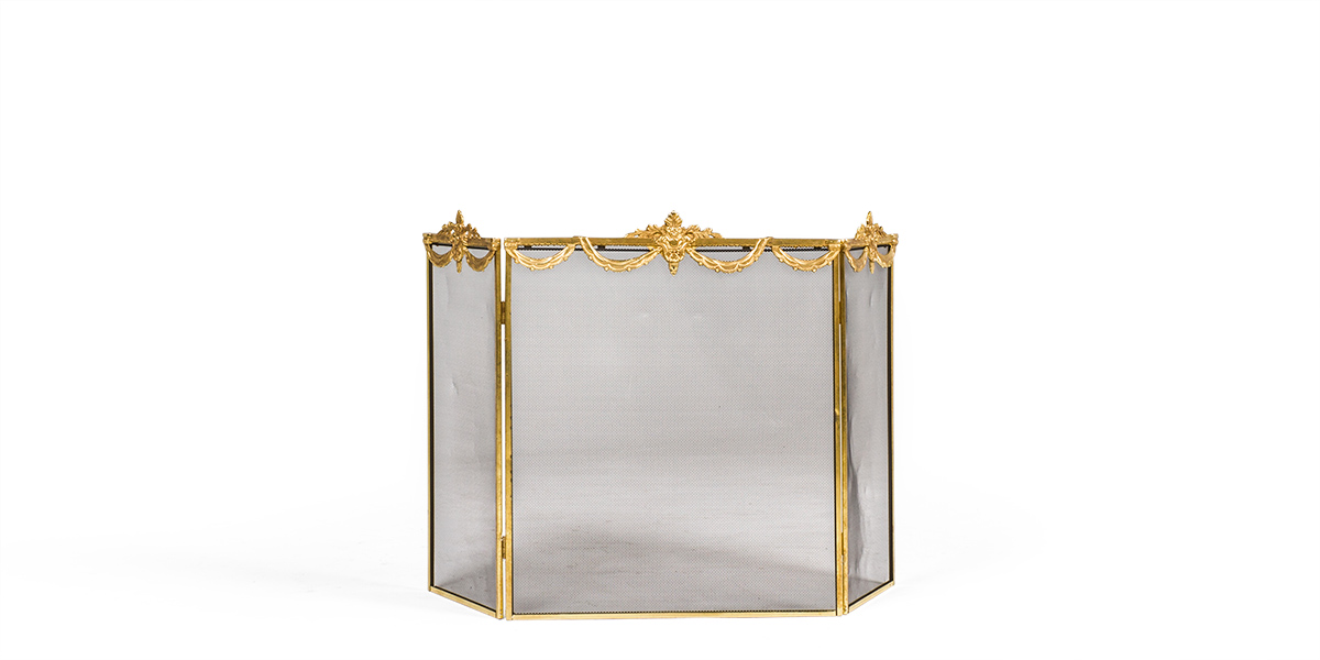 "30""h Brass Fireplace Screen MIS007009"