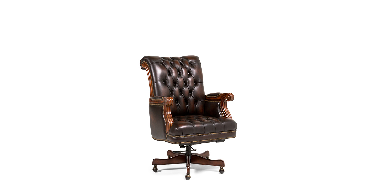 Brown Tufted Leather Executive Office Chair CHR013636