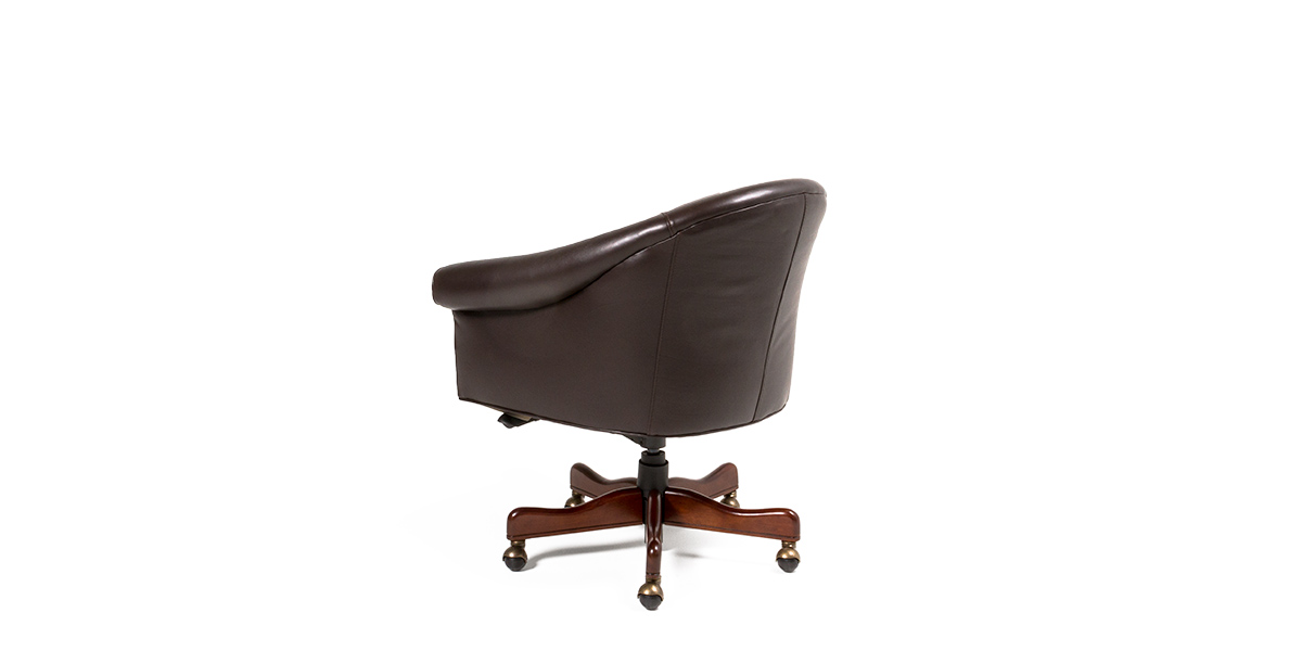 Brown Leather Barrel Style Executive Mid-Back Office Chair CHR013637
