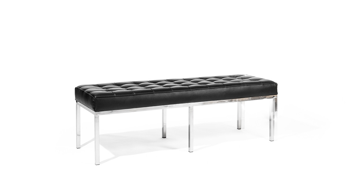 "55""w x 22""d Black Leather Bench BEN013717"