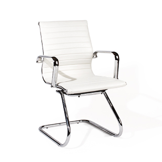 White Leather Guest Chair CHR012893