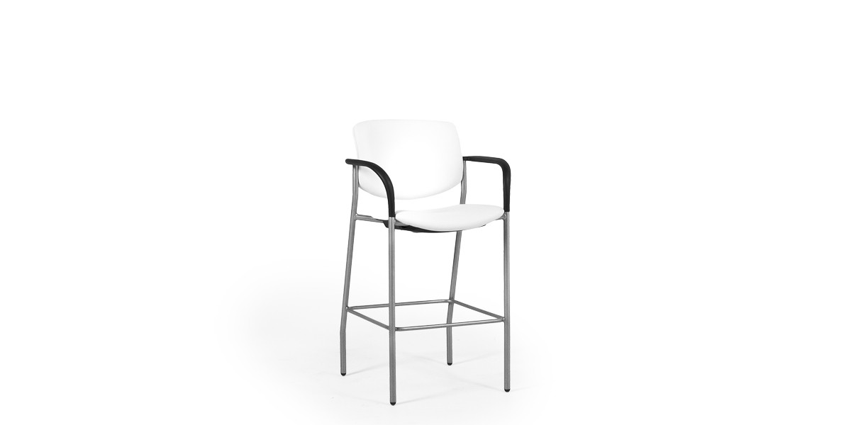 White Vinyl Bar Stool CHR013178