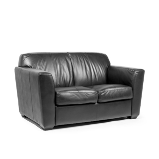 "61""w x 36""d Black Leather Loveseat LVS008549"